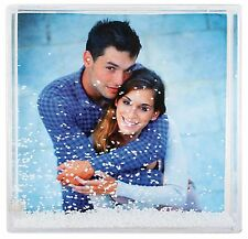 "New Design - Fun Square Photo Snow Globe/Paper Weight - Holds 4x4"" Pic - Boxed"