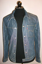 Mens Levi Strauss Levis Blue Denim Biker Trucker Jacket Blazer Coat S Small
