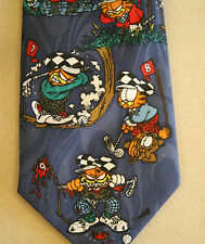 VTG GARFIELD Golf Golfing Cat Play Golf Course 1978 Novelty Neck Tie Colorful