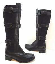 COLE HAAN Black Leather Buckled Stretch Motorcycle Knee High Boot Sz 6.5 Avalon