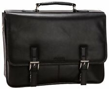 Kenneth Cole Reaction Business and Luggage Leather Flapover Portfolio in Black