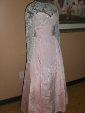 Vintage Grace'S Couture Chantilly Lace Evening Gown Dress Pink Costume