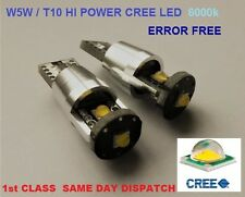 2x HI POWER 3 CREE LED BULB T10 W5W 501 WHITE 400lm!!! CANBUS ERROR FREE 6000k