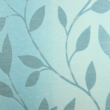 Turquoise ombre Wallpaper roll wallcovering blue leaf textured modern tree 3D