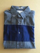 ABERCROMBIE & FITCH Mens Shirt - Size M - BNWT - Grey & Navy Blue