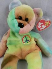 BEANIE BABIES RARE Peace the Bear w/ 2 errors & PVC Pellet & No Stamp
