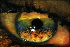 Framed Print - Fiery Depiction in a Horrified Human Eye (Gothic Horror Picture)
