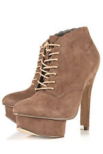 New lovely TOPSHOP ALISHA scallop edge boots UK 5 in Taupe
