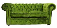 Chesterfield 2 Seater Modena Pistachio Green Velvet Fabric Sofa Settee