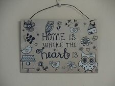 Vintage Shabby Chic Metal Wall Hanging Sign Plaque Owls  Home Is Where The Heart