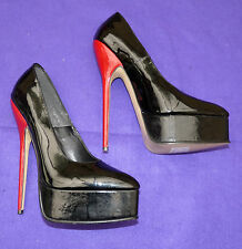 """fetish red 7-1/2"""" extreme heel black red leather shoes cream soles 42  uk 9"""