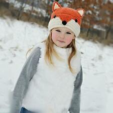 Cute Winter Warm Baby Girls Knitted  Crocheted Wool Fox Hats Toodler Hooded Caps