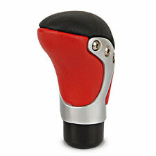 Gear knob REAL leather black red silver shift stick car van Universal lever race