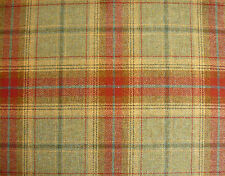 BALMORAL TARTAN 100% WOOL LARGE CHECK FABRIC MATERIAL RED GREEN PER~M