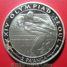 TONGA 1988 2 PAANGA 5oz SILVER PROOF SWIMMERS SEOUL OLYMPIC BIG HEAVY 65mm 155gr