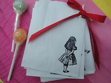 20' Dinky ' Handstamped Alice in wonderland Sweet Bags - Sweet Cart - Parties