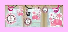 It's a Girl  Baby Shower Decorations - Jungle Theme Pink Swirls - Elephants