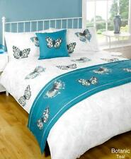 5pc Botanic Butterfly Teal King Size Bed In A Bag Duvet Cover Bedding Set