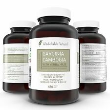 Whitefields Natural Garcinia Cambogia with Yerba Mate Extract 180 capsules New