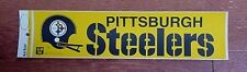 VINTAGE 1970s PITTSBURGH STEELERS 2BAR HELMET BUMPER STICKER LARGE Unsold Stock
