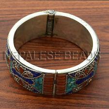 BRS35 Tibetan Nepalese White Metal  Coral Lapis Bangle Bracelet Diameter 2 ¾''