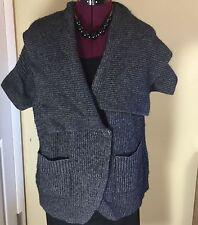 BCBG Maxazria Cashmere Angora Blend Sweater Gray Size Small S Women Fuzzy Warm