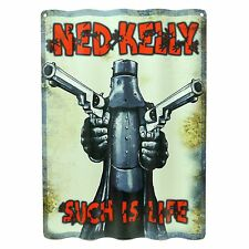 NED KELLY WALL SIGN - Corrugated Tin Man Cave Den Pool Room Wooden Bar Shed