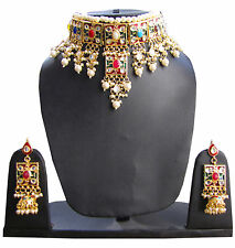 polki kundan Indian wedding wear womens Necklace set bollywood jewelry Earrings