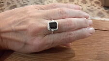 Brand new silver ring with a dark purple and clear stones size M+1/2 +gift box