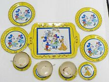 J. CHEIN TOY CO. MICKEY MOUSE TIN CUPS - SAUCERS - SAUCERS AND PLATES WITH TRAY