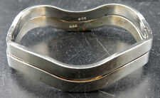 2 Sterling Silver Wave Bangle Bracelets Solid Hinged Clasp 47.5 Grams