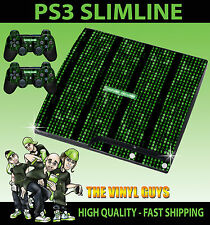 PLAYSTATION PS3 SLIM MATRIX CODE SYSTEM FAILURE STICKER SKIN & 2 PAD SKINS