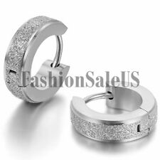 Men Women Unisex Fashion Stainless Steel Matte Charm Hoop Huggie Earrings 2PCS