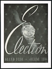 1940s Vintage 1946 Election Watch Co. Grand Prix Mid Century Modern Art Print AD