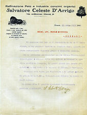 Pubblicità lettera SALVATORE CELESTE D'ARRIGO- CATANIA - RAFFINAZIONE PELO 1930