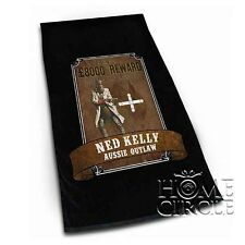 Ned Kelly Aussie Outlaw Wanted Poster Black Cotton Beach Towel 153cm x 77cm