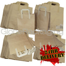 100 LARGE BROWN KRAFT PAPER SOS CARRIER BAGS 10x5x12.5""