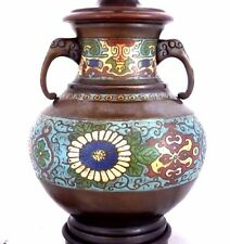 Antique Bronze 2-Handled Cloisonné Vase Converted to Lamp. China 1915.
