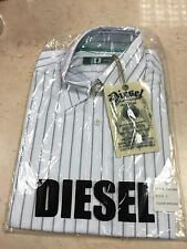 Mens Diesel Long Sleeved Shirt BNWT White Green Stripe Size 2