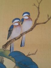 "Vintage Japanese painting on silk ""Birds""  artist signed, 18×24 inches"