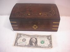 Vintage Wooden Jewelry Box With Working Key Lock