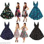SARAH-P LADIES VINTAGE PRINTS 50'S ROCKABILLY RETRO PARTY DRESS SIZE 8-22 NEW