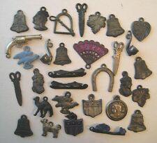 ANTIQUE OLD METAL CHARMS~PENNY TOY PRIZES~VINTAGE CRACKER JACK LOT 1920's-30's