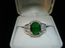 NEW Pure Silver Plated Green Crystal Emerald Ring Womes's Size 9