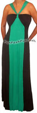 KT2 FUNFASH GREEN BLACK COLOR BLOCK HALTER LONG MAXI PLUS SIZE DRESS 1X 18 20
