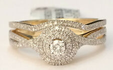 Yellow Gold Halo Vintage Flower Round Diamonds Bridal Set Wedding Ring Band