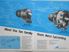 11/1971 PUB AVCO LYCOMING ALF-301 ALF-502 FANJETS ENGINE MOTEUR AVIATION AD