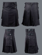 Black Deluxe Utility Heavy Duty Kilt With Four Leather Straps On Both Side