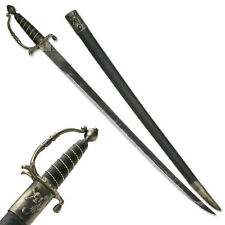 """NEW! 38"""" Jolly Roger Pirate Naval Cutlass Sword Antique Bronze with Scabbard"""