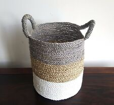 Basket, large, handmade seagrass, natural, storage, decorative, tricolour, decor